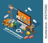 isometric web development... | Shutterstock .eps vector #393792082