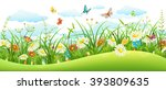 Stock vector summer landscape banner with meadow flowers grass and butterflies 393809635