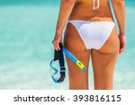 back of young woman in bikini... | Shutterstock . vector #393816115
