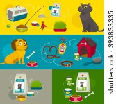 pet care object set  horizontal ... | Shutterstock .eps vector #393833335