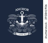 vintage labels with anchor. sea ... | Shutterstock .eps vector #393841906