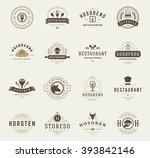vintage restaurant logos design ... | Shutterstock .eps vector #393842146