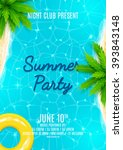 summer party flyer. beautiful... | Shutterstock .eps vector #393843148