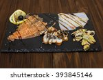 delicious smoked salmon fish... | Shutterstock . vector #393845146