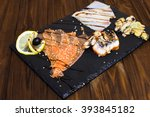 delicious smoked salmon fish... | Shutterstock . vector #393845182