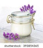 vanilla cream honey on a rustic ... | Shutterstock . vector #393854365