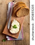 butter and bread for breakfast  ... | Shutterstock . vector #393855205