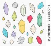 set of vector crystal shapes ... | Shutterstock .eps vector #393857746