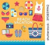 summer holidays on beach vector ... | Shutterstock .eps vector #393859942