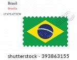 brasil stamp design over stripy ... | Shutterstock . vector #393863155