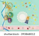 blank  greeting easter card...   Shutterstock . vector #393868012