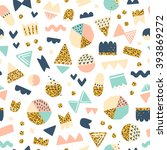 fun shapes seamless pattern...   Shutterstock .eps vector #393869272