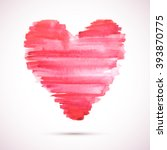 vector watercolor heart... | Shutterstock .eps vector #393870775