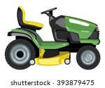 Green lawnmower on a white background - stock vector
