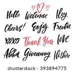 hand drawn catchwords. hello ... | Shutterstock .eps vector #393894775