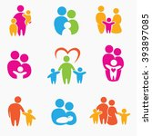happy family icons  vector... | Shutterstock .eps vector #393897085