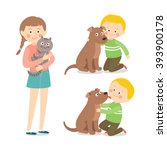 children and pets. child... | Shutterstock .eps vector #393900178