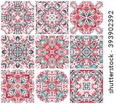 mexican stylized talavera tiles ... | Shutterstock .eps vector #393902392