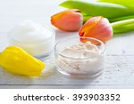 face cream and body lotion with ... | Shutterstock . vector #393903352