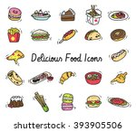 set of food icon in doodle style | Shutterstock .eps vector #393905506