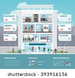 corporate office building... | Shutterstock .eps vector #393916156