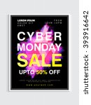 cyber monday sale poster ... | Shutterstock .eps vector #393916642