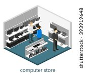 isometric interior of computer... | Shutterstock .eps vector #393919648