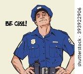 content policeman in uniform....   Shutterstock .eps vector #393922906