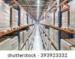 huge distribution warehouse...   Shutterstock . vector #393923332