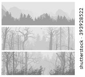wild forest horizontal banners. ... | Shutterstock .eps vector #393928522