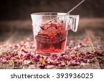 Stock photo mix of healthy herbal tea on vintage wooden background 393936025