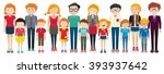 adults and kids standing... | Shutterstock .eps vector #393937642
