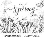 hello  spring. spring concept.... | Shutterstock .eps vector #393940018