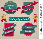 set of the vintage ribbons and... | Shutterstock .eps vector #393943432
