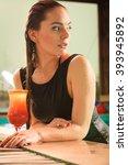 attractive seductive woman in... | Shutterstock . vector #393945892