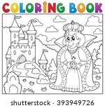coloring book queen near castle ... | Shutterstock .eps vector #393949726