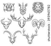 wild animals heads  hand drawn... | Shutterstock .eps vector #393965782