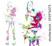 portrait of fashion look girl....   Shutterstock .eps vector #393976375