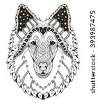 Rough Collie Dog Head Zentangle ...