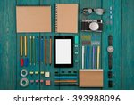 workplace with tablet pc ... | Shutterstock . vector #393988096
