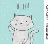 cute hand drawn doodle card... | Shutterstock .eps vector #393992392