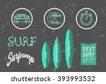 surf logotypes and elements  | Shutterstock .eps vector #393993532