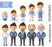 set of characters in a flat... | Shutterstock .eps vector #393993892