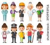 set of characters in a flat... | Shutterstock .eps vector #393993916