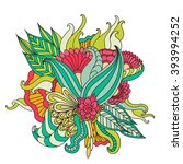 hand drawn artistic ethnic... | Shutterstock .eps vector #393994252