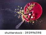 Stock photo delicious raspberry cake with fresh strawberries raspberries blueberry currants and pistachios 393996598