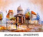 oil painting   street view of... | Shutterstock . vector #394009495