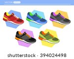 shoes flat icon with bright... | Shutterstock .eps vector #394024498