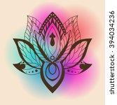 lotus mandala on a bright... | Shutterstock .eps vector #394034236