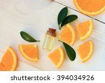 orange aroma oil. bottle with...   Shutterstock . vector #394034926